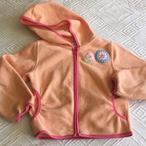 Warm coat sz 6 mango and pink